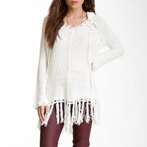 White Boho Fringe Crochet Festival Hoodie - Small